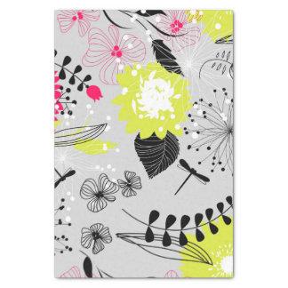 ピンク及び黄色のレトロの花柄 薄葉紙