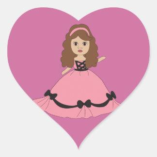 ピンク及び黒いガウンのプリンセス1 ハートシール