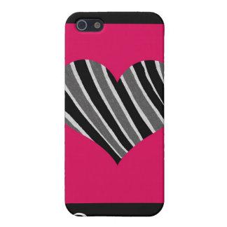 ピンク及び黒いシマウマのハート iPhone SE/5/5sケース