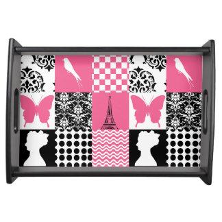 ピンク及び黒いパッチワーク トレー