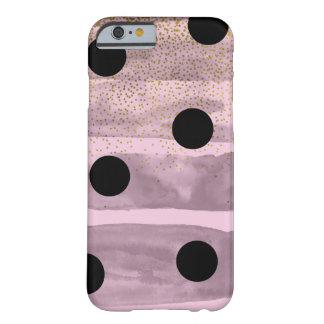 ピンク及び黒い金ゴールドの水玉模様のシックな弓粋な魅力 BARELY THERE iPhone 6 ケース