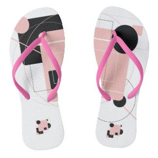 ピンク及び黒のアートな正方形の円のデザイン ビーチサンダル