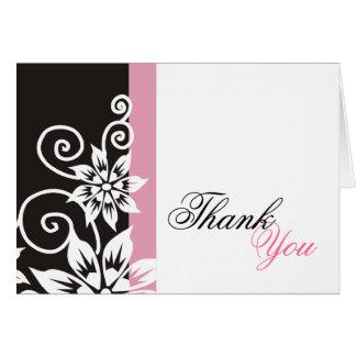 ピンク及び黒のユニークなサンキューカード カード