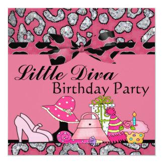 ピンク及び黒の小さい花型女性歌手の誕生会の輝き カード