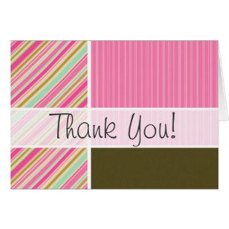ピンク及びSeafoamの緑のストライプ ノートカード