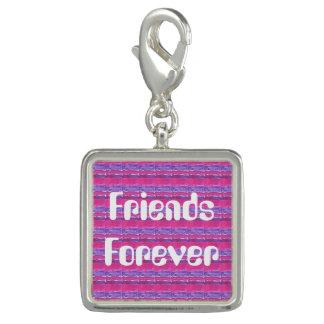 ピンク友人永久に及び紫色のチャームブレスレット チャーム