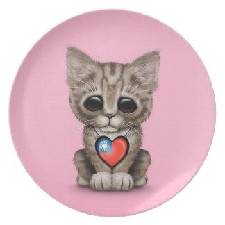 ピンク台湾の旗のハートのかわいい子ネコ猫 プレート