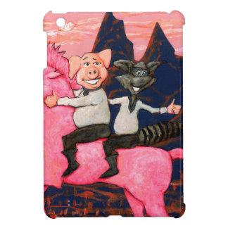 ピンク国連icornのブタそしてアライグマ iPad mini カバー