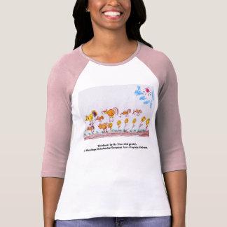"""ピンク女性及び赤い野球のTシャツ""""鶏"""" Tシャツ"""