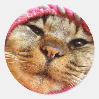 ピンク帽子のチャド 丸形シールステッカー