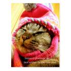 ピンク帽子のチャド(縦:年末年始のメッセージ付き) ポストカード