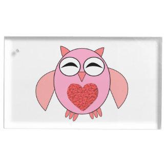 ピンク愛ハートのフクロウのテーブルカードホルダー テーブルカードホルダー