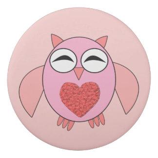 ピンク愛ハートのフクロウEarser 消しゴム