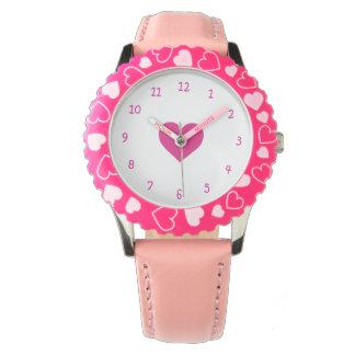 ピンク愛ハートの腕時計 腕時計
