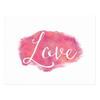 ピンク愛感動的な水彩画の引用文 ポストカード