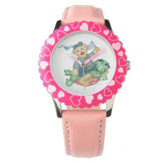 ピンク数を用いるカメくまの漫画の斜面 腕時計