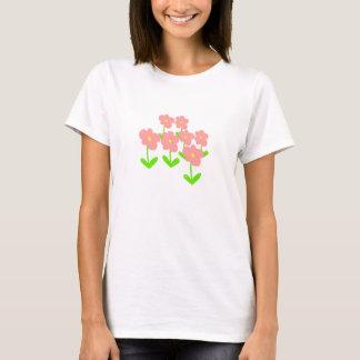 ピンク春の花および緑の花 Tシャツ
