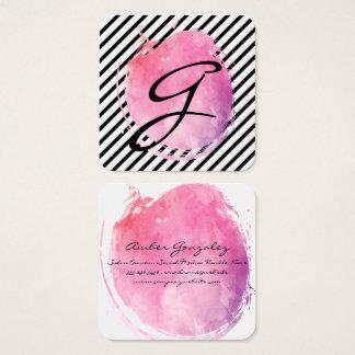 ピンク水色のモノグラムの空想の文字は縞で飾ります スクエア名刺