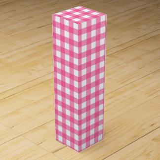 ピンク点検及び白いginhamのワイン用化粧箱 ワインギフトボックス