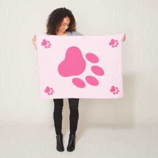 ピンク犬の足のシルエット フリースブランケット