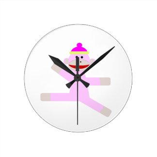 ピンク猿 ラウンド壁時計