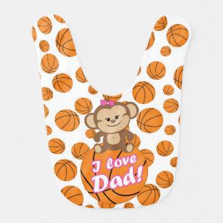 ピンク猿I愛パパのバスケットボールのよだれかけ ベビービブ