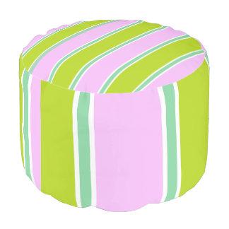 ピンク緑数々のストライプコンボPouf プーフ