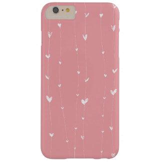 ピンク背景と白ハートライン BARELY THERE iPhone 6 PLUS ケース