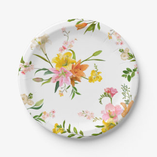 ピンク花ユリの花-オレンジ黄色の結婚式 ペーパープレート