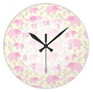 ピンク象の子供部屋 ラージ壁時計