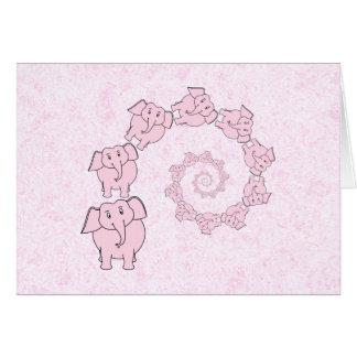 ピンク象の螺線形。 ピンクの背景 カード