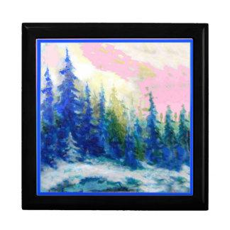 ピンク青い冬の森林景色 ギフトボックス