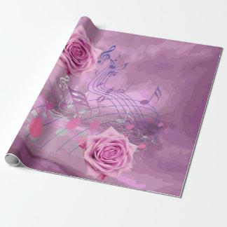 ピンク音楽ノート及びバラの包装紙 ラッピングペーパー