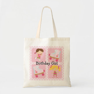 ピンク4の正方形のローラースケートの誕生日 トートバッグ