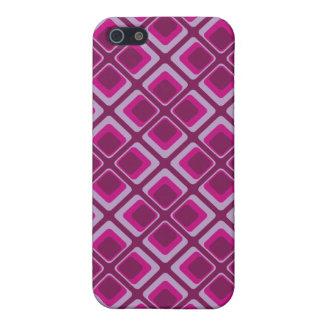 ピンク60年代および紫色の正方形 iPhone 5 ケース