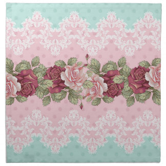 ピンク、あずき色及びティール(緑がかった色)のぼろぼろのシックな結婚式の花 ナプキンクロス