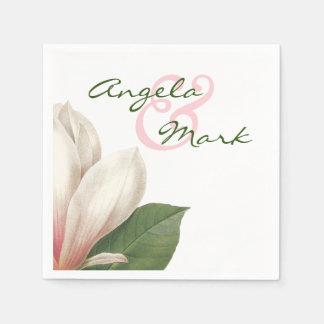 ピンク|および白を結婚する南マグノリアの花 スタンダードカクテルナプキン