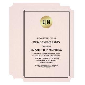 ピンク|の金ゴールドホイルの婚約パーティの招待状 12.7 X 17.8 インビテーションカード
