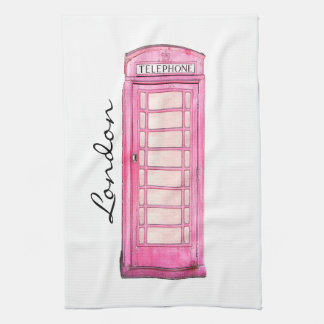 ピンク-イギリスの公衆電話ボックス-ロンドン茶タオル タオル