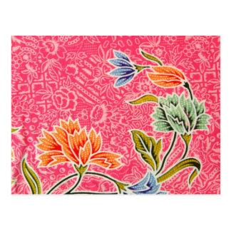 ピンク、オレンジおよび青の花柄 ポストカード