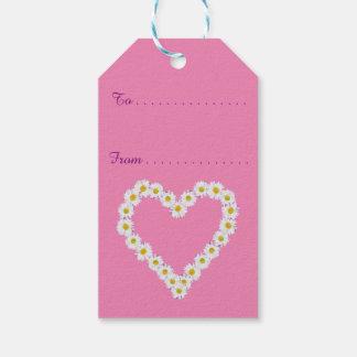 ピンク、カスタムなギフトのラベルのシックなひな菊の花輪 ギフトタグ