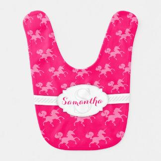 ピンク-カスタムなベビー用ビブのユニコーン ベビービブ