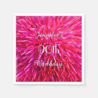 ピンク、ショッキングピンクの紙ナプキンの第90誕生会 スタンダードカクテルナプキン