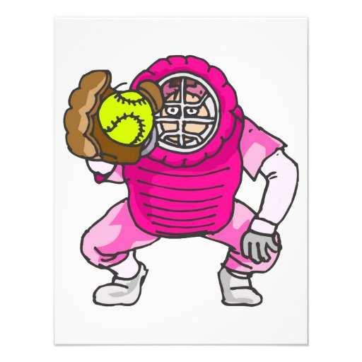 ピンク|ソフトボール|キャッチャー オリジナル案内状