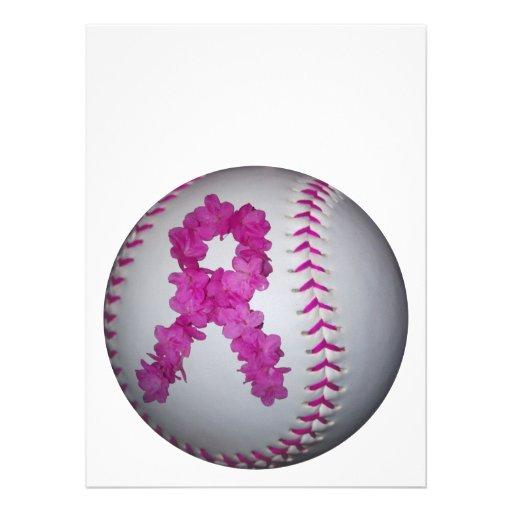 ピンク|ソフトボール|認識度|花|リボン 案内状