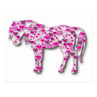 ピンク-ハートの馬 ポストカード