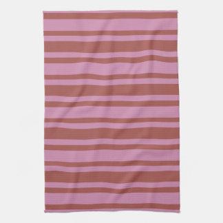 ピンク/ラズベリーのストライプでカスタムな台所タオル キッチンタオル