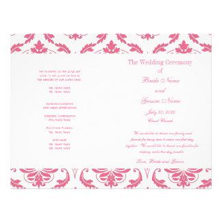 ピンク|ヴィンテージ|ダマスク織|結婚|プログラム カスタムチラシ