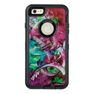 ピンク、水、緑の抽象芸術 オッターボックスディフェンダーiPhoneケース