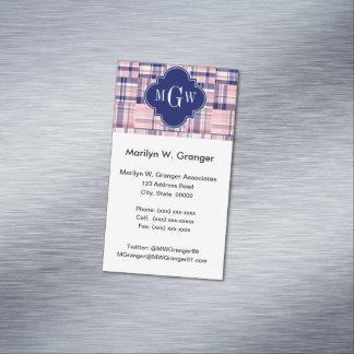 ピンク、濃紺のプレッピーなパッチワークのマドラスのモノグラム マグネット名刺